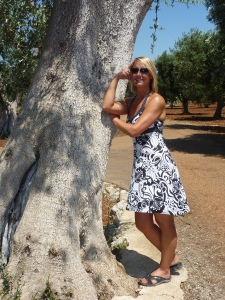 Posing against an Olive tree!