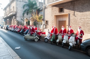 Father Christmas on Vespa
