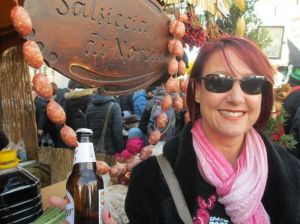 Me, street food and a beer! Getting in the Carnival spirit!
