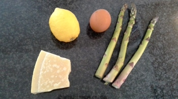 Ingredients for asparagus and eggs
