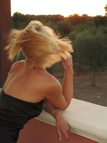 Hair blowing in the wind