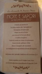 Sample menu of the Note e Sapori evening