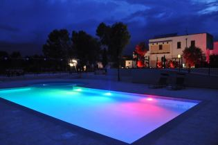 Masseria Giulio swimming pool at dusk