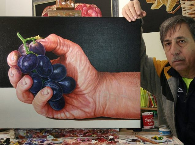 The detail in this painting is incredible: Hand of Alfredo Passante with a bunch of grapes