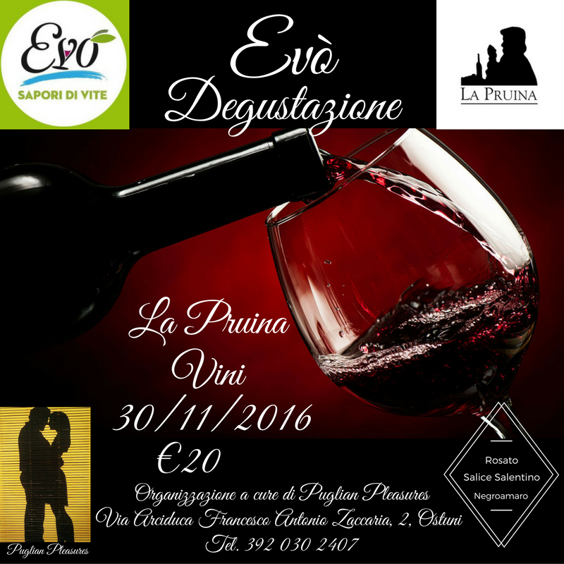 Wine tasting with La Pruina wine at Evò bar in Ostuni, in collaboration with Puglian Pleasures