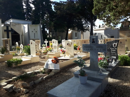 Cemetery San Vito Dei Normanni, various headstones, graves, mausoleums, cribs, bone placeholders